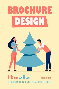 Young couple putting Christmas tree