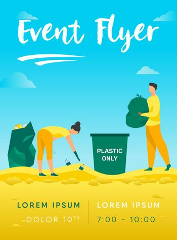 Young people cleaning beach from garbage