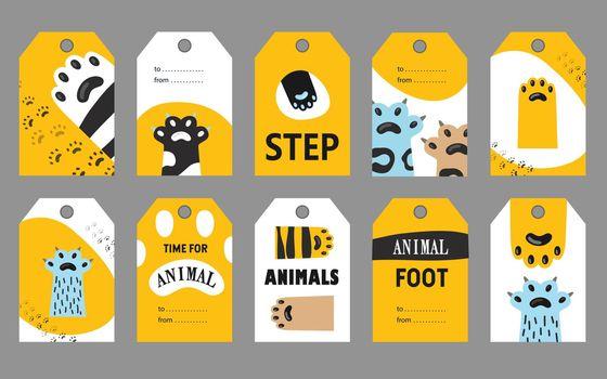 Animal foot tags set
