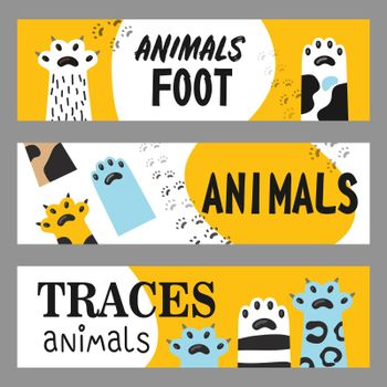 Animals foot banners set