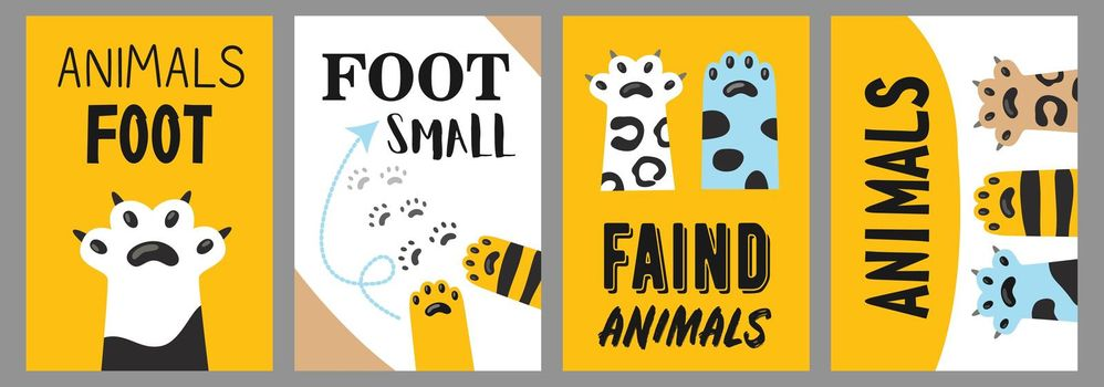 Animals foot posters set