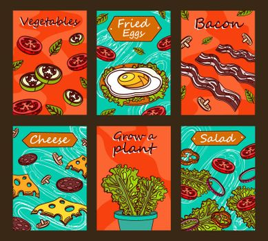 Bright brochure designs with tasty food