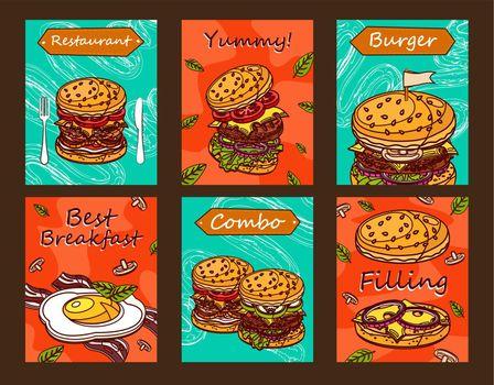 Bright leaflet designs for fast food restaurant