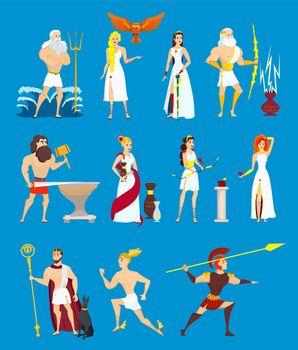Cartoon Greek Gods set