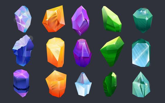 Colorful gems collection set