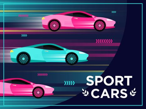 Cover design with moving sport cars