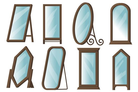 Creative floor mirrors with wooden frames flat item set