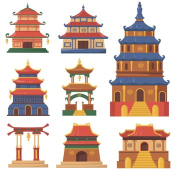 Cultural China traditional buildings flat set for web design