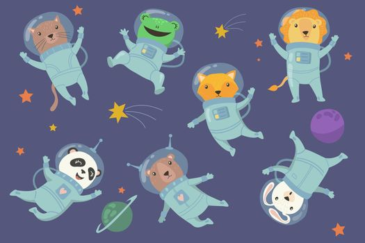 Animals in space. Illustration vector