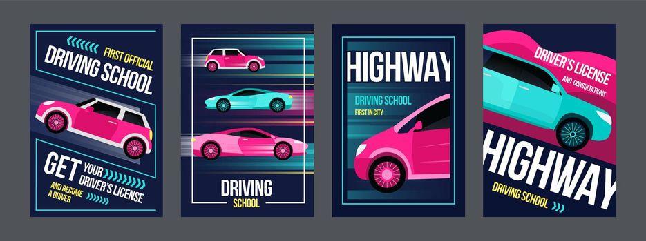 Driving school posters set
