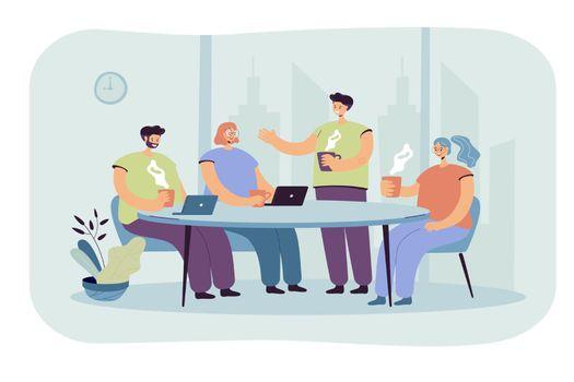 Employees brainstorming during coffee break