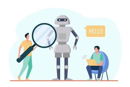 Engineers creating robot