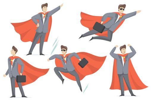 Experienced businessman in superhero costume