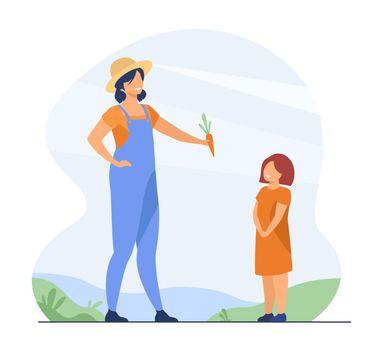 Farmer mom and kid