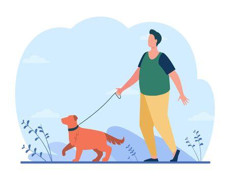 Fat man walking with dog on street