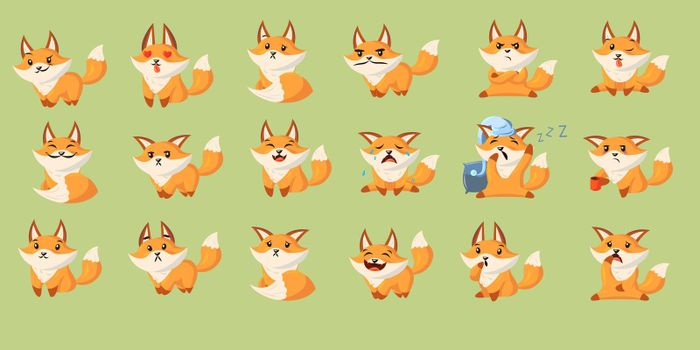 Funny cartoon red fox with set of various emotions