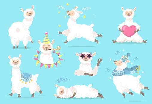 Funny lama in different poses flat item set