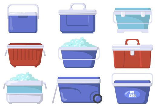 Handheld ice cooler boxes flat set for web design