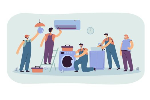 Handymen repairing clients home appliance