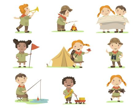 Happy children in scout costumes flat set for web design