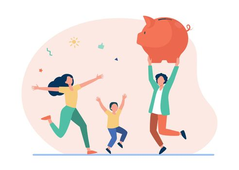 Happy family jumping with huge piggybank