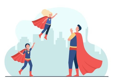 Happy superhero father with kids in super costumes