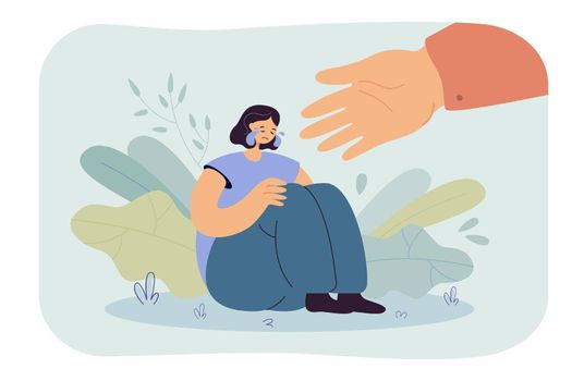 Helping hand for depressed crying person