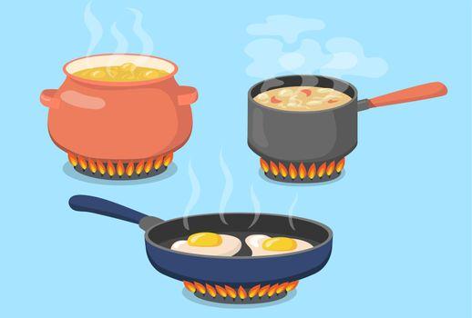 Hot pot, saucepan and pan on gas stove flat set for web design