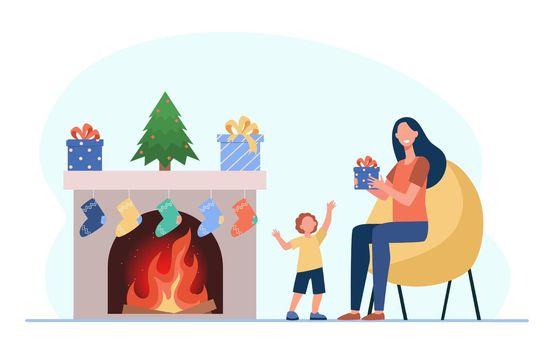 Kid and mom celebrating Christmas