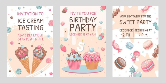 Invitation cards set with sweets