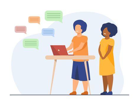 Kids chatting online