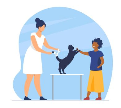 Kid visiting veterinary office with cat