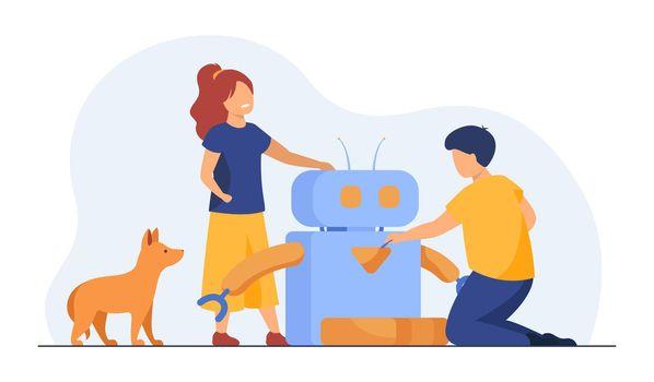 Kids creating or using robot