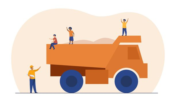 Kids playing on construction truck