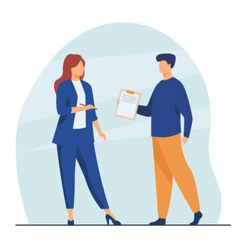 Manager giving document to female boss