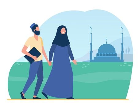 Muslim people going to mosque