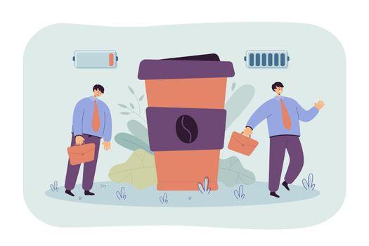 Office worker suffering from caffeine addiction