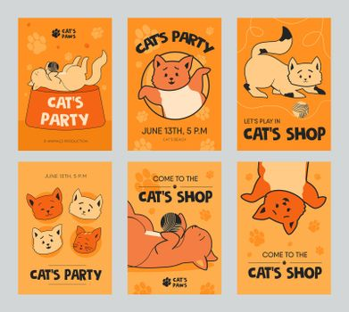 Orange brochure designs with funny kittens