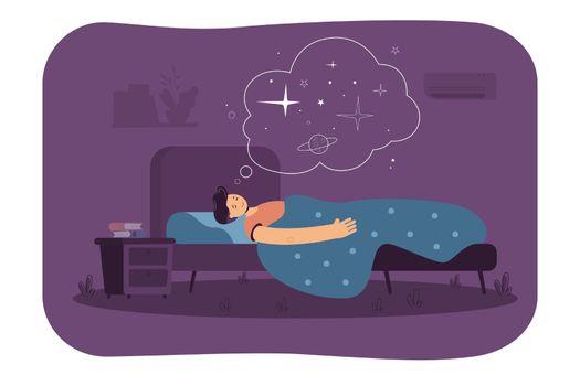 Peaceful man sleeping in bedroom