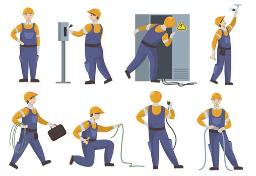Professional electrician in uniform repairing electric elements