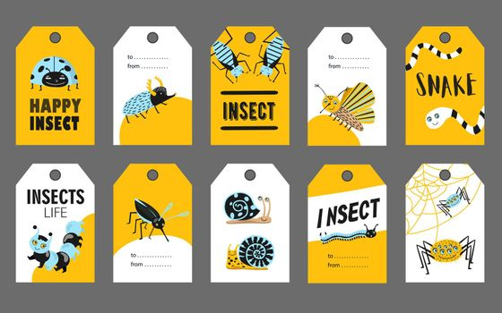 Special tag designs with happy insects