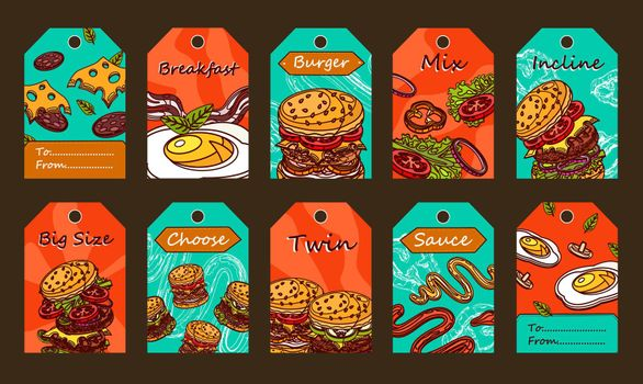 Special tag designs with burgers