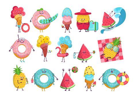 Summer cartoon characters set