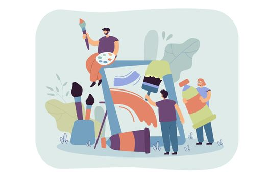 Tiny artists creating artwork together flat vector illustration