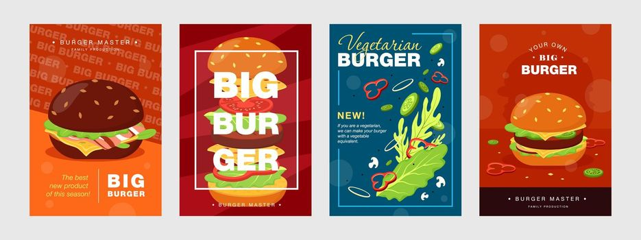 Trendy poster designs with burger and ingredients