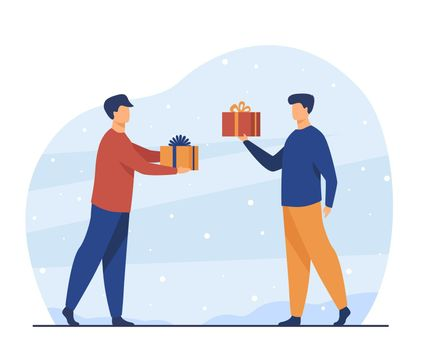 Two men giving presents each other