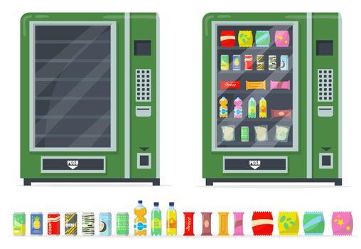 Vending machines and snacks set