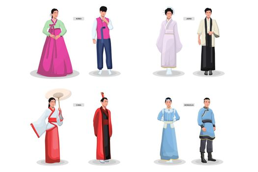 Asian traditional costumes set