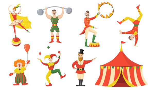 Cheerful circus character and performers flat set for web design