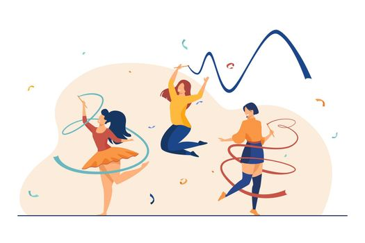 Cheerful girls training with ribbon